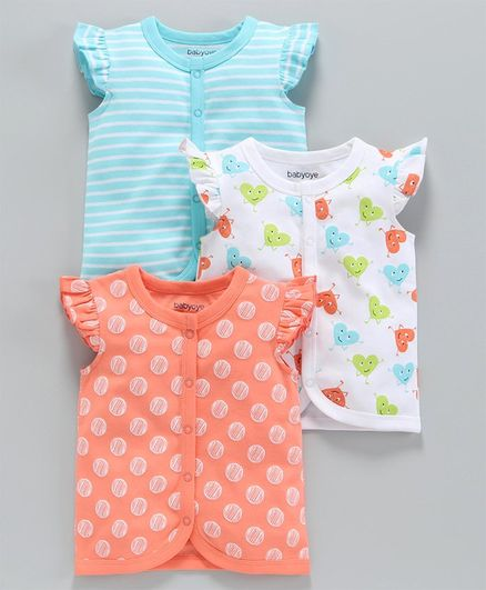 Babyoye Cotton Short Sleeves Vests Pack of 3 - Orange Blue