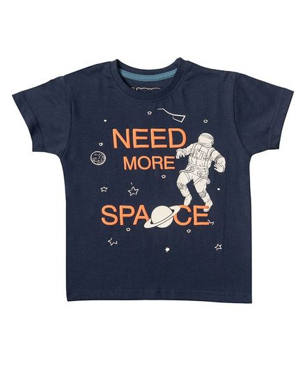 Kid Studio Short Sleeves Need More Space Print Tee - Navy Blue