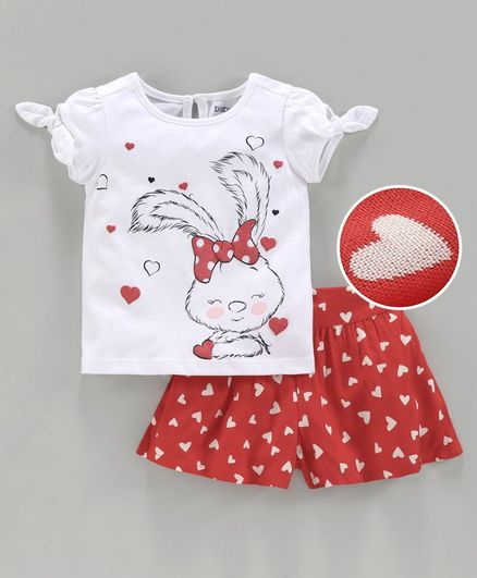 Babyoye Cotton Short Sleeves Top with Shorts Bunny Print - White Red