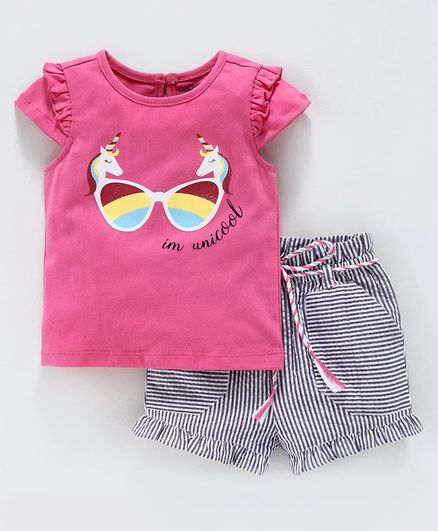 Babyoye Cotton Cap Sleeves Top & Shorts Unicorn Glares Print - Pink Black