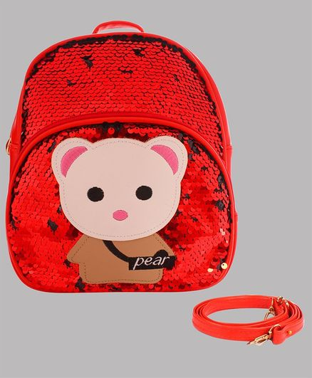 Daizy Teady Bear Patch Detailed sequin Bag With Detachable Belt - Red
