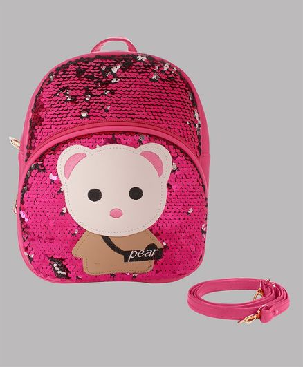 Daizy Teady Bear Patch Detailed sequin Bag With Detachable Belt - Dark Pink