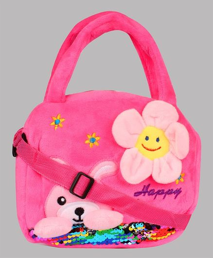 Daizy Sunflower Applique Sling Bag - Dark Pink
