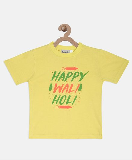 BownBee Happy Waili Holi Printed Half Sleeves T-Shirt - Yellow