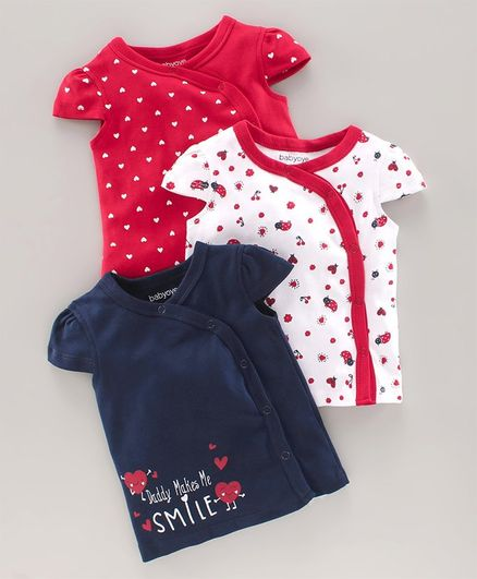 Babyoye Cotton Half Sleeves Jhabla Pack Of 3 - Red Blue