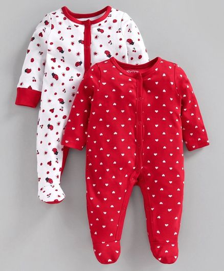Babyoye Cotton Full Sleeves Footed Sleepsuit  Heart Print Pack of 2 - White Red
