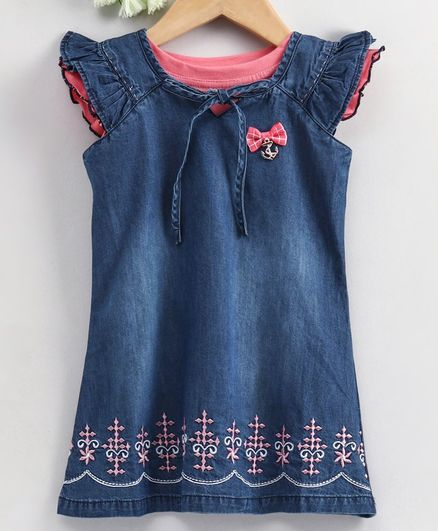 Enfance Core Solid Cap Sleeves Top With Embroidery Detailing Dress - Blue