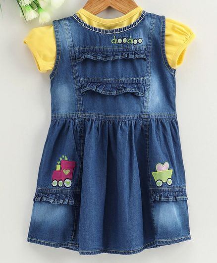 Enfance Core Solid Cap Sleeves Top With Train Patch Detailing Dress - Yellow & Blue