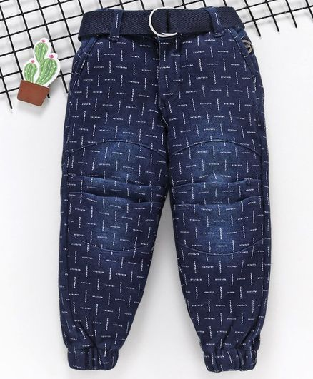 Noddy Printed Full Length Pant With Belt - Dark Blue