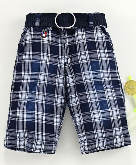 Noddy Checked Shorts With Belt - White