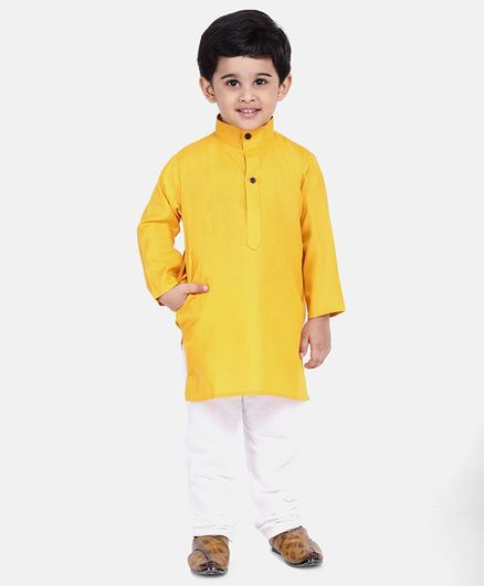 BownBee Solid Full Sleeves Kurta & Pyjama - Yellow