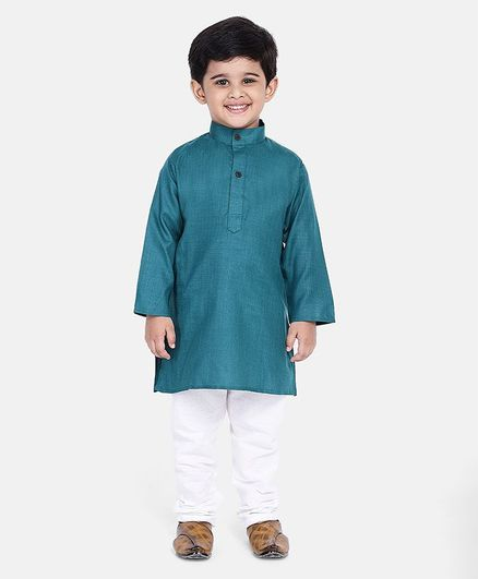 BownBee Solid Full Sleeves Kurta & Pyjama - Blue