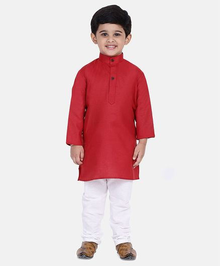 BownBee Solid Full Sleeves Kurta & Pyjama - Red