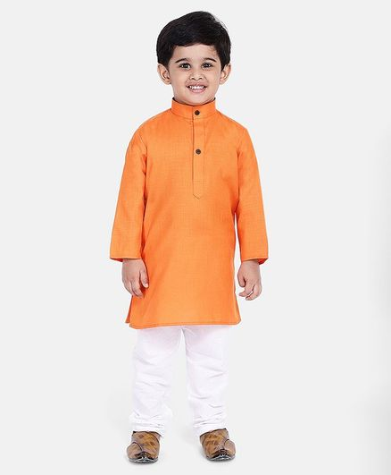 BownBee Solid Full Sleeves Kurta & Pyjama - Orange