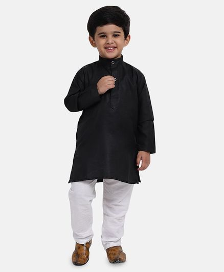 BownBee Solid Full Sleeves Kurta & Pyjama - Black