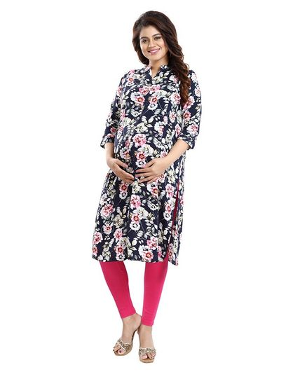 Mamma's Maternity Three Fourth Sleeves Floral Print Nursing Kurta - Navy Blue
