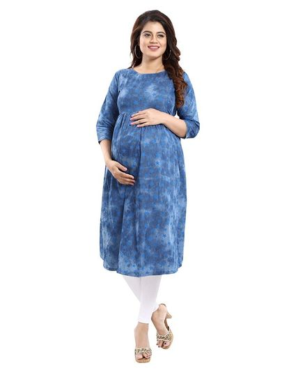 Mamma's Maternity All Over Stars Printed Three Fourth Sleeves Nursing Kurta - Blue