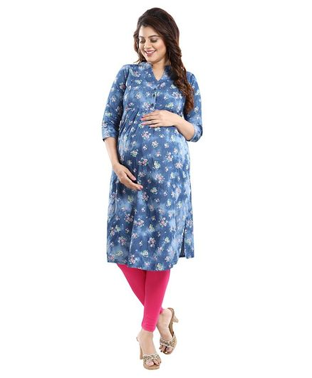 Mamma's Maternity Three Fourth Sleeves Flower Printed Nursing Kurta - Blue