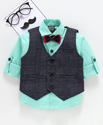 Rikidoos Roll Up Full Sleeves Shirt With Printed Waistcoat & Bow Tie - Navy Blue & Green