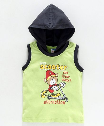Tango Sleeveless Hooded Tee Scooter Print - Green