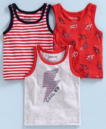 Babyoye Cotton Sleeveless Striped and Printed Vest Pack of 3 - Red Grey