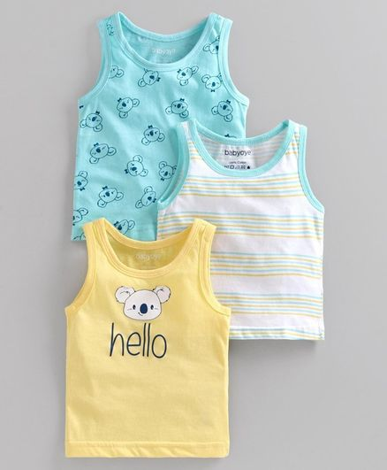 Babyoye Cotton Striped & Printed Sleeveless Vest Pack of 3 - Blue White Yellow