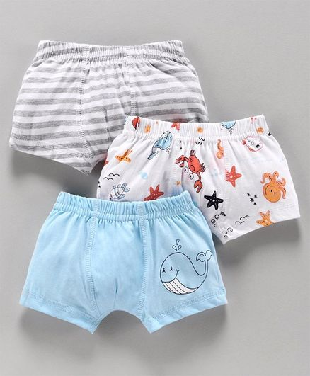 Babyoye Cotton Trunks Aquatic Animals Print Pack of 3 -  White Sky Blue Light Grey