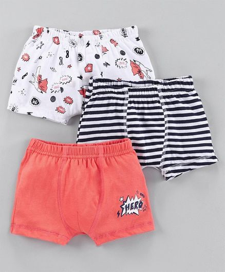 Babyoye Cotton Trunks Crocodile Print Pack of 3 - White Coral Navy Blue