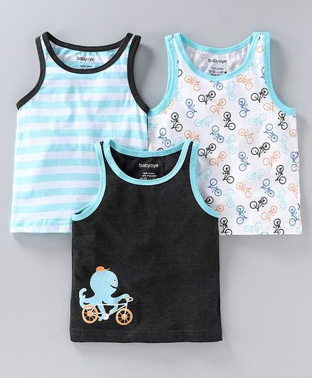 Babyoye Cotton Striped and Printed Sleeveless Vest Pack of 3 - Blue Black