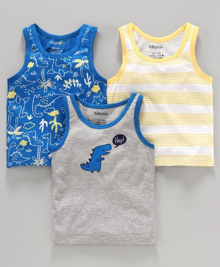 Babyoye Cotton Striped and Printed Sleeveless Vest Pack of 3 - Blue Grey Yellow