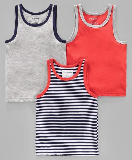 Babyoye Sleeveless Vests Pack of 3 - Orange Light Grey Navy Blue