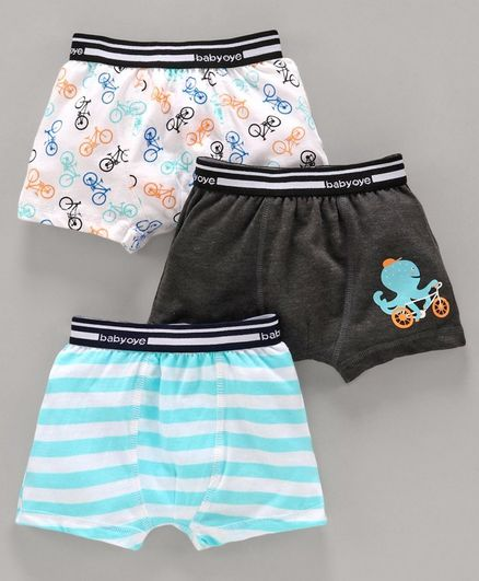 Babyoye Cotton Trunks Bear Print Pack of 3 - Blue White Black