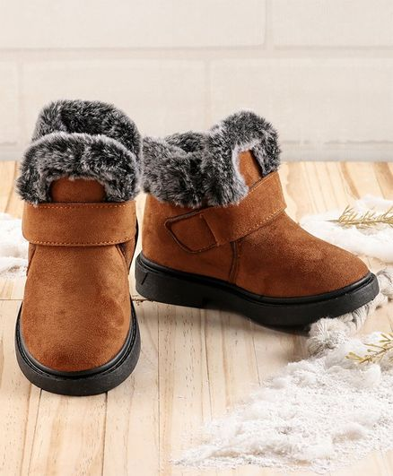 KIDLINGSS Faux Fur Lined Velcro Closure Boots - Brown