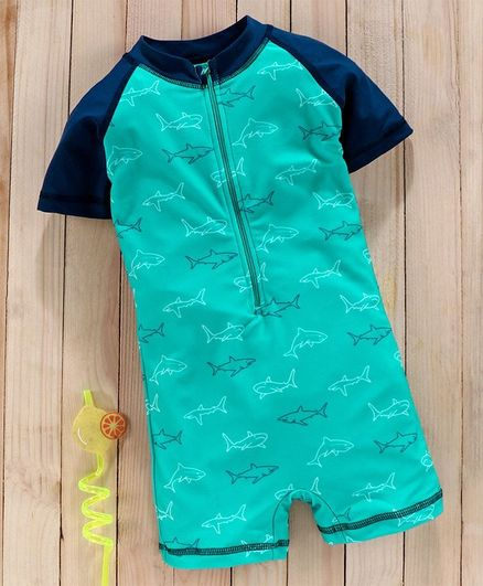 Babyhug Half Sleeves Legged Swimsuit Shark Print - Green