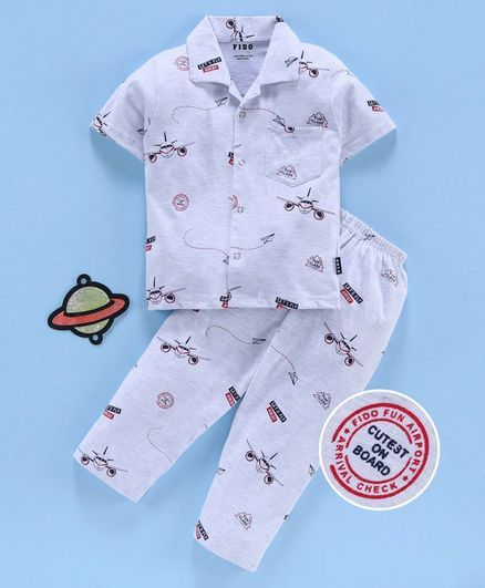 Fido Half Sleeves Night Suit Aeroplane Print - Grey