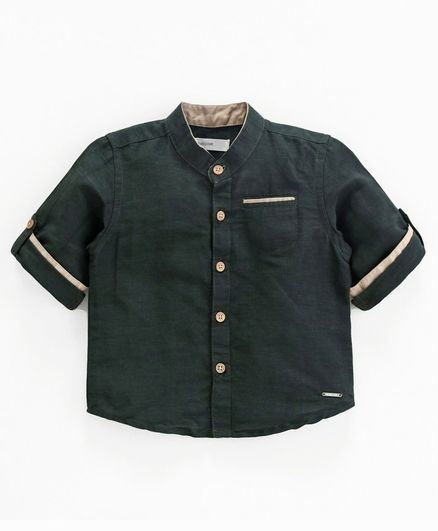 Babyoye Cotton Linen Full Sleeves Solid Shirt - Green