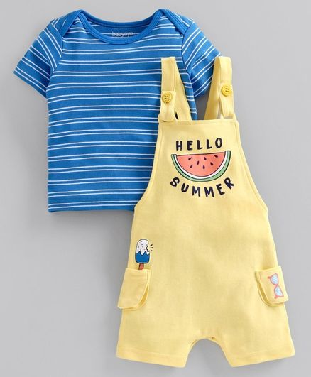 Babyoye Dungaree with Half Sleeves Striped Tee Watermelon Print - Yellow Blue