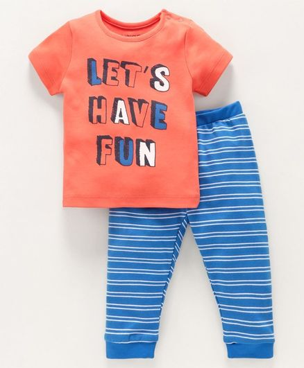 Babyoye Cotton Short Sleeves Tee & Stripe Bottoms Text Print - Coral Blue