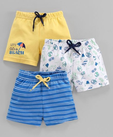 Babyoye Cotton  Printed & Striped Shorts Pack of 3 - Yellow Blue White