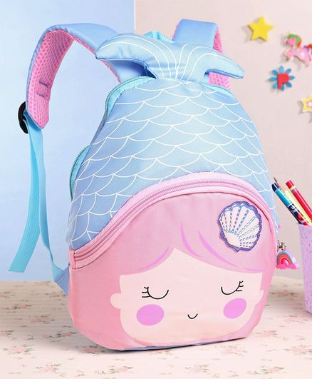 School Bag With 3D Fin Blue - 9 Inches
