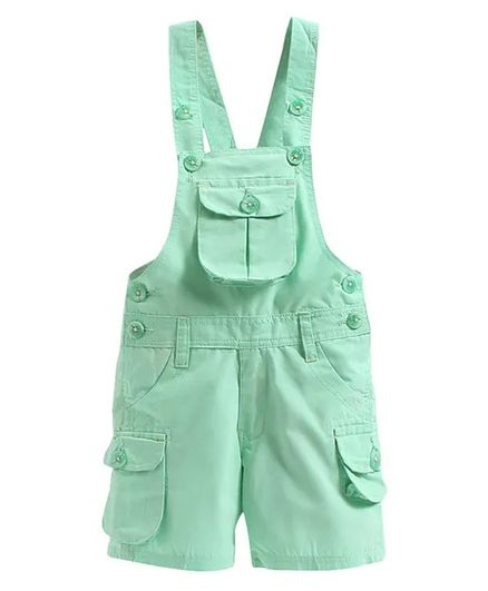 FirstClap Solid Sleeveless Dungaree - Sea Green