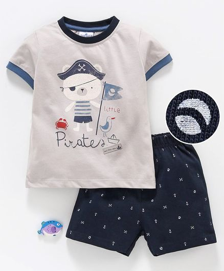 First Smile Half Sleeves Tee & Shorts Pirates Print - Navy Blue Grey