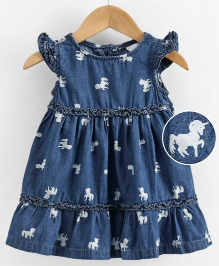 Babyoye Flutter Sleeves Denim Frock Unicorn Print - Blue