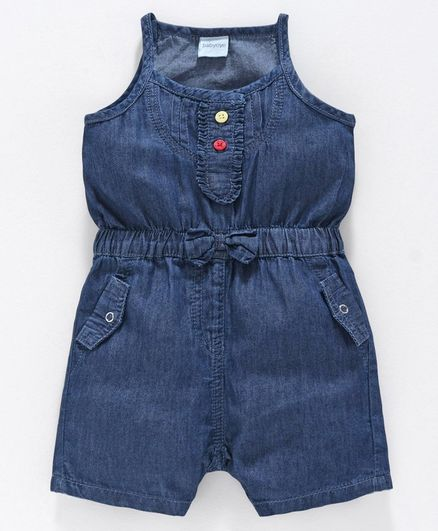 Babyoye Sleeveless Denim Jumpsuit - Blue