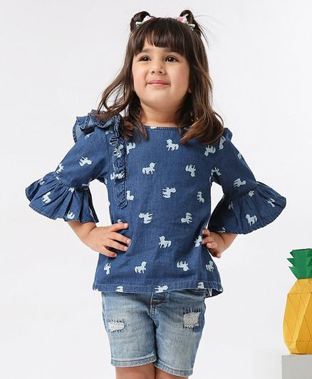 Babyoye Bell Sleeves Denim Cotton Top Unicorn Print - Blue