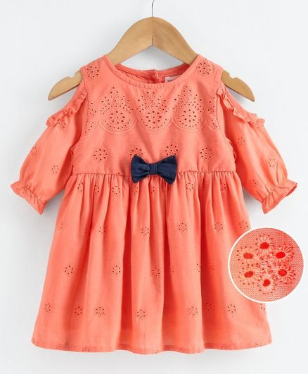 Babyoye Cotton Cold Shoulder Frock Bow Applique - Coral