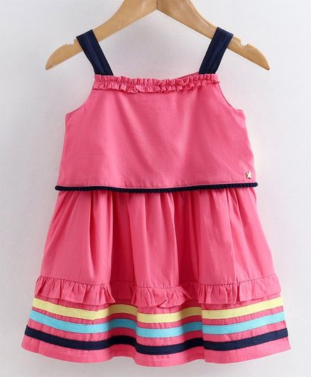 Babyoye Sleeveless Cotton Overlay Twill Tape Frock - Pink
