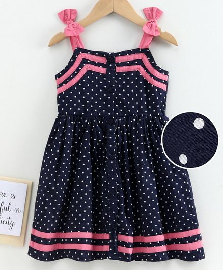 Babyoye Cotton Sleeveless Printed Frock Bow Applique - Navy Blue