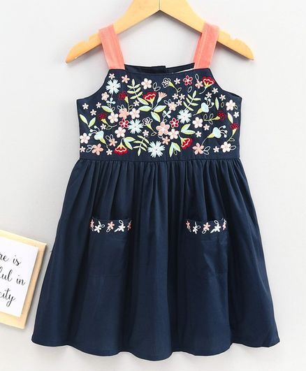 Babyoye Cotton Sleeveless Frock Floral Embroidery - Navy Blue