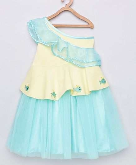 Tutus By Tutu Sleeveless Ruffle Detailed Fish Patch One Shoulder Dress - Blue